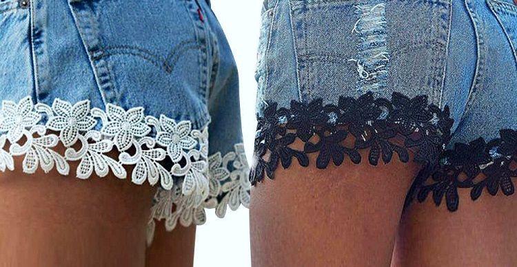 кружево на обрезанных джинсах