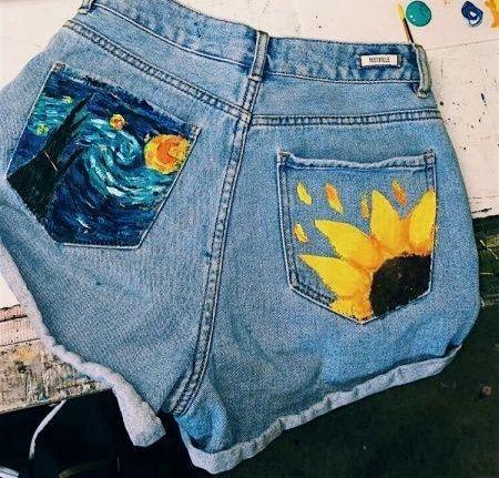 Рисунки на джинсах с помощью акварели
