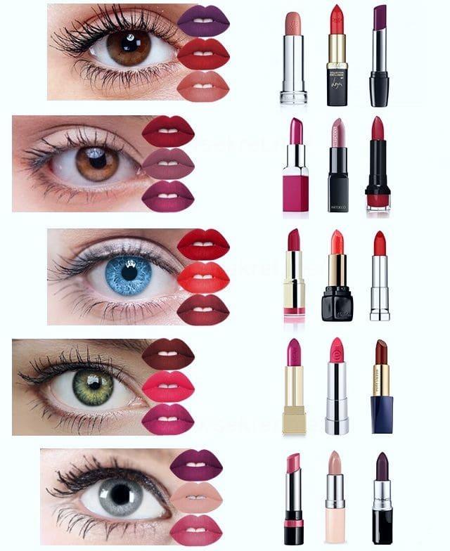 Подбор губной помады по цвету глаз и времени суток