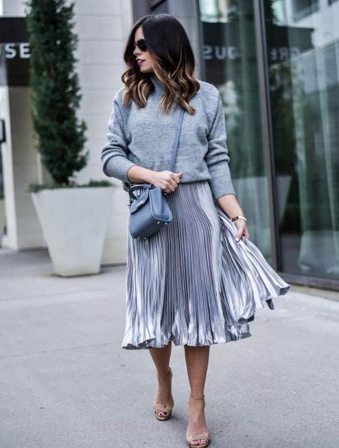 метализ юбка плиссе со свитером