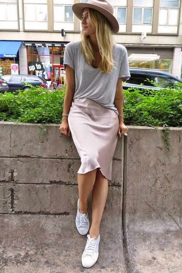 шелк юбка с кедами
