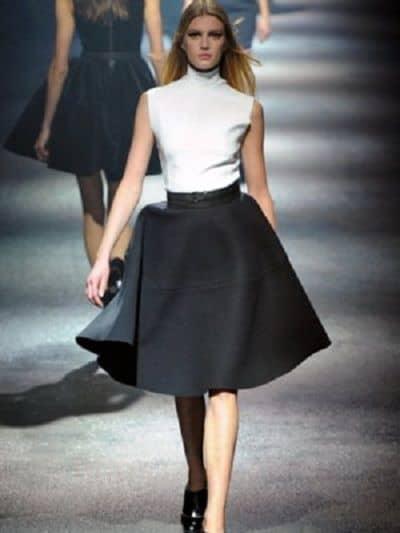 юбка колокол чёрно белая