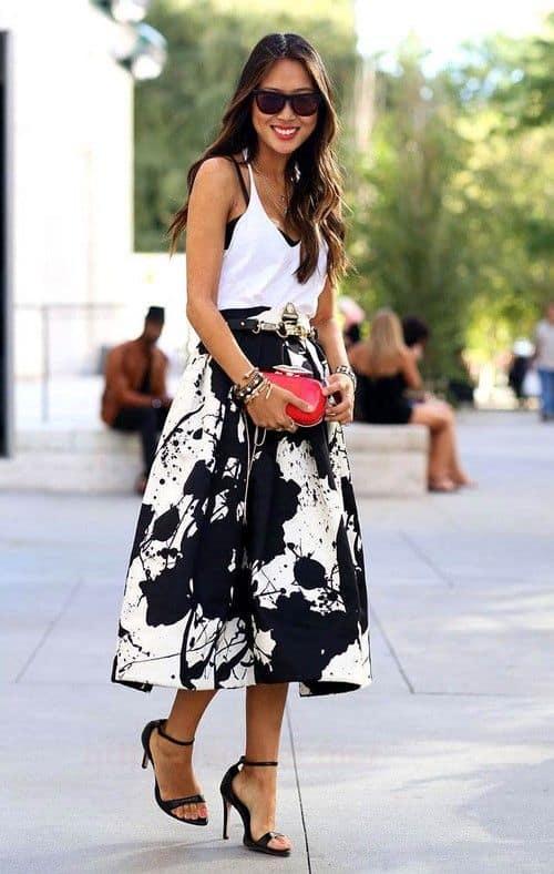 юбка-колокол с каблуками