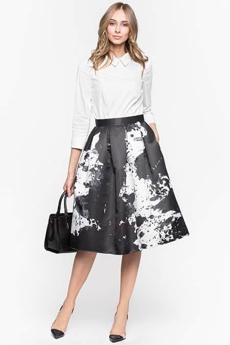 юбка колокол в чёрно белом