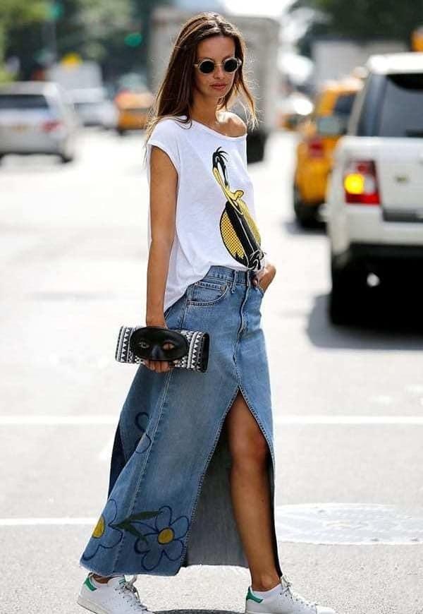 юбка макси джинсовая