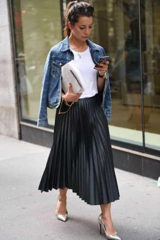 юбка плиссе с джинсов курткой