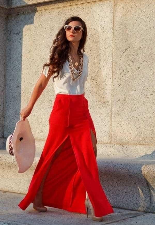 юбка в пол ярко красная