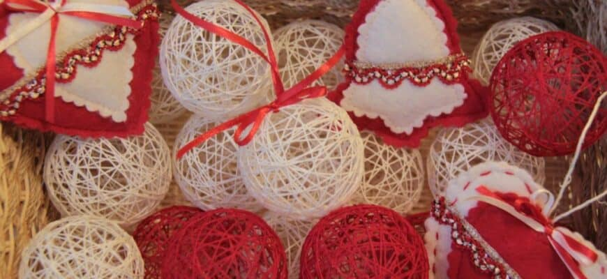 Как самостоятельно сделать шары для елки из ниток просто и быстро